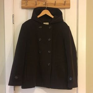 St John's Bay Wool Cashmere Hooded Peacoat XL